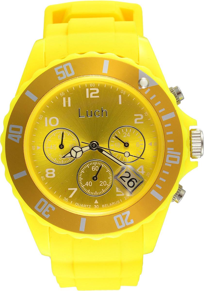 Часы наручные женские Луч, цвет: желтый. 728885012BM8434-58AEСтильные женские часы Луч выполнены из пластика и силикона. Циферблат оформлен символикой бренда и дополнен индикатором даты, секундомером и индикатором суточного времени.Корпус часов оснащен кварцевым механизмом со сменным элементом питания, а также дополнен браслетом, который застегивается на практичную пряжку. На стрелки нанесен светящийся состав.Часы поставляются в фирменной упаковке.Часы Луч подчеркнут отменное чувство стиля их обладателя.