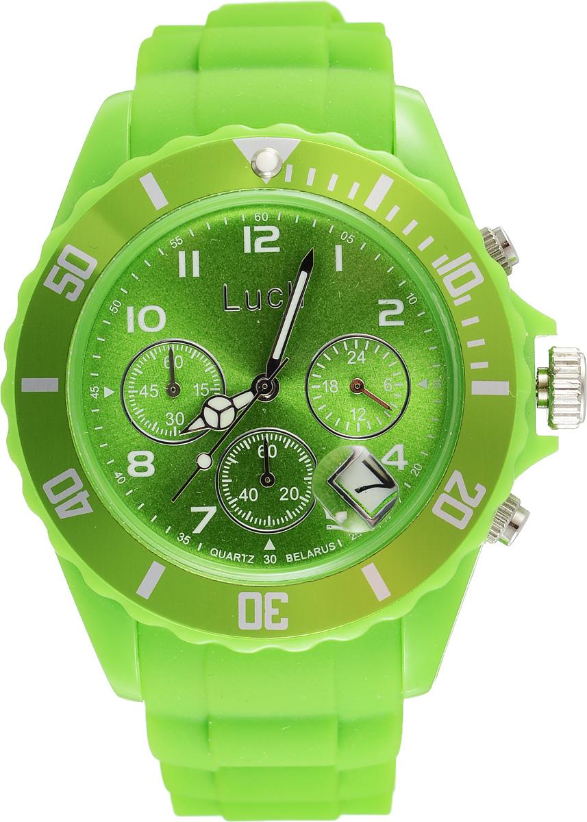 Часы наручные женские Луч, цвет: зеленый. 728885011BM8434-58AEСтильные женские часы Луч выполнены из пластика и силикона. Циферблат оформлен символикой бренда и дополнен индикатором даты, секундомером и индикатором суточного времени.Корпус часов оснащен кварцевым механизмом со сменным элементом питания, а также дополнен браслетом, который застегивается на практичную пряжку. На стрелки нанесен светящийся состав.Часы поставляются в фирменной упаковке.Часы Луч подчеркнут отменное чувство стиля их обладателя.