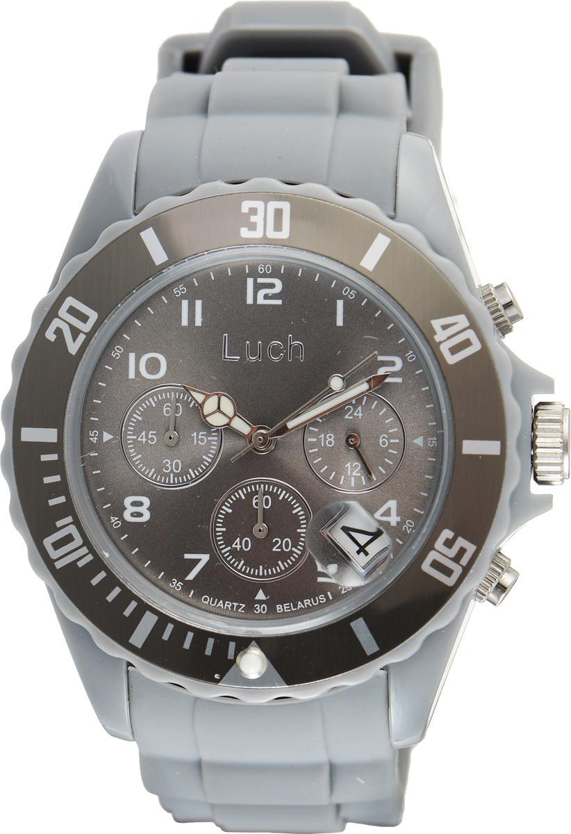 Часы наручные мужские Луч, цвет: серый. 728885023INT-06501Стильные часы Луч выполнены из пластика и силикона. Циферблат оформлен символикой бренда и дополнен индикатором даты, секундомером и индикатором суточного времени.Корпус часов оснащен кварцевым механизмом со сменным элементом питания, а также дополнен браслетом, который застегивается на практичную пряжку. На стрелки нанесен светящийся состав.Часы поставляются в фирменной упаковке.Часы Луч подчеркнут отменное чувство стиля их обладателя.