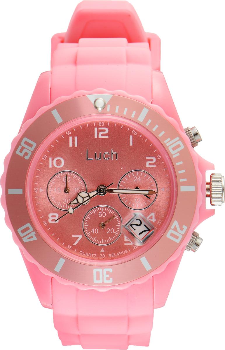 Часы наручные женские Луч, цвет: светло-розовый. 728885018BM8434-58AEСтильные женские часы Луч выполнены из пластика и силикона. Циферблат оформлен символикой бренда и дополнен индикатором даты, секундомером и индикатором суточного времени.Корпус часов оснащен кварцевым механизмом со сменным элементом питания, а также дополнен браслетом, который застегивается на практичную пряжку. На стрелки нанесен светящийся состав.Часы поставляются в фирменной упаковке.Часы Луч подчеркнут отменное чувство стиля их обладателя.