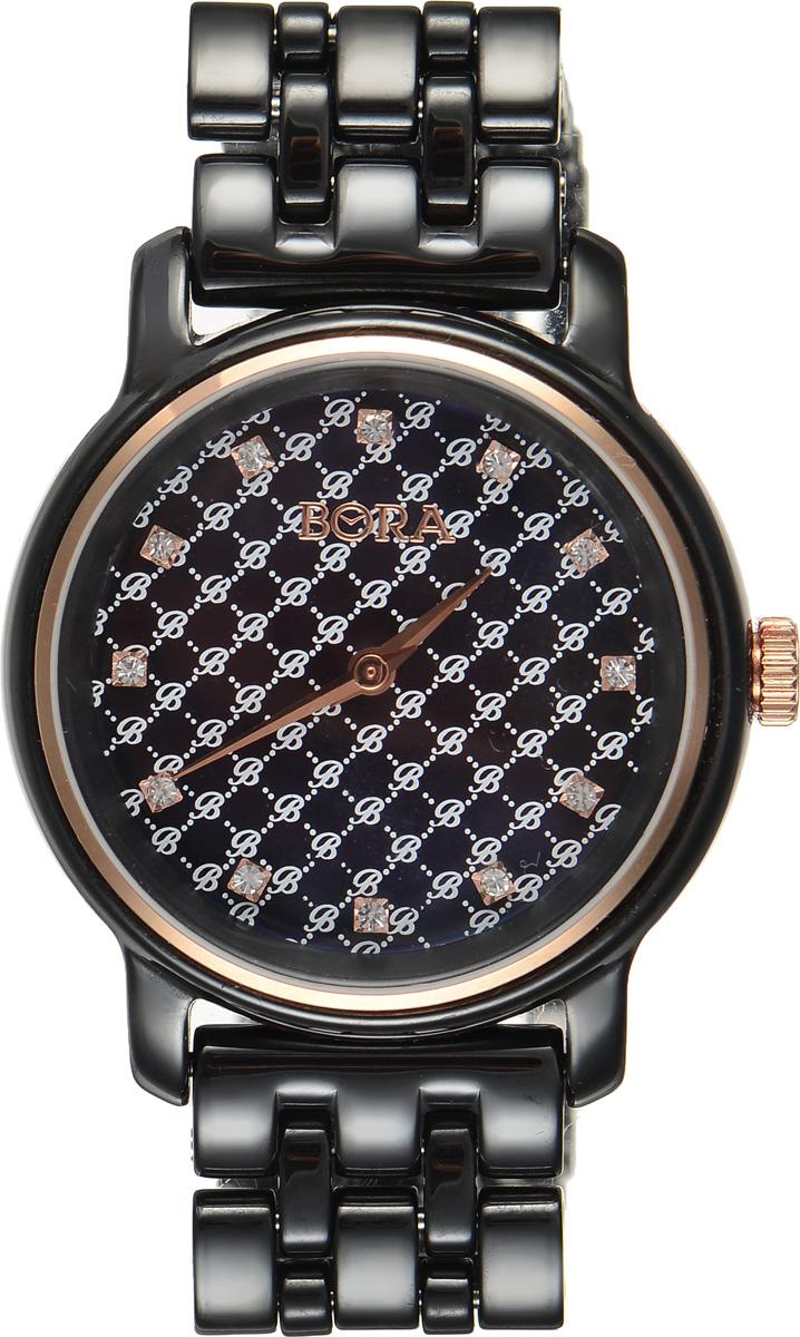 Часы наручные женские Bora, цвет: черный. T-B-8645BM8434-58AEЭлегантные женские часы Bora выполнены из керамики и минерального стекла. Перламутровый циферблат дополнен символикой бренда, оформлен контрастным орнаментом и инкрустирован стразами.Корпус часов оснащен кварцевым механизмом со сменным элементом питания, а также дополнен браслетом, который застегивается на застежку-бабочку.Часы поставляются в фирменной упаковке.Часы Bora подчеркнут изящность женской руки и отменное чувство стиля у их обладательницы.