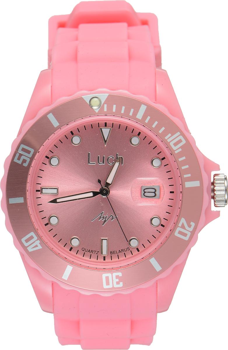 Часы наручные женские Луч, цвет: светло-розовый. 728785938BM8434-58AEСтильные женские часы Луч выполнены из пластика и силикона. Циферблат оформлен символикой бренда и дополнен индикатором даты.Корпус часов оснащен кварцевым механизмом со сменным элементом питания, а также дополнен браслетом, который застегивается на практичную пряжку. На стрелки и циферблат нанесен светящийся состав.Часы поставляются в фирменной упаковке.Часы Луч подчеркнут изящность женской руки и отменное чувство стиля у их обладательницы.