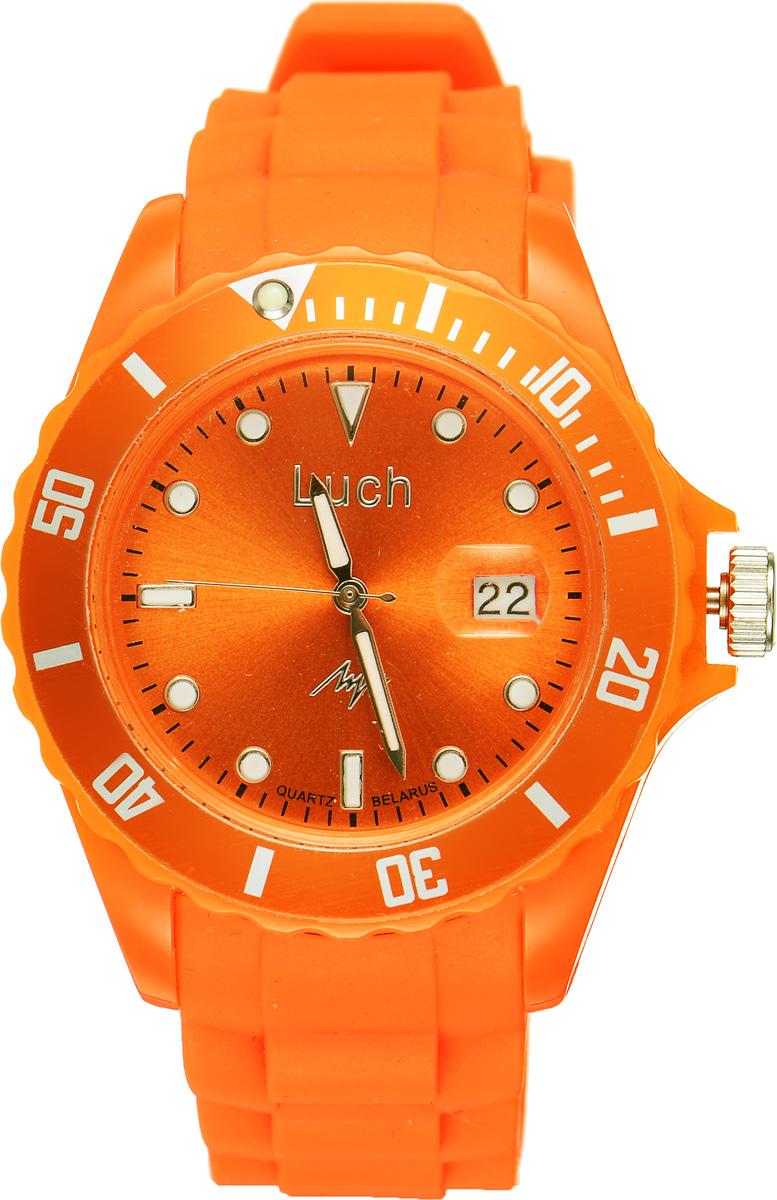 Часы наручные женские Луч, цвет: оранжевый. 728785935BM8434-58AEСтильные женские часы Луч выполнены из пластика и силикона. Циферблат оформлен символикой бренда и дополнен индикатором даты.Корпус часов оснащен кварцевым механизмом со сменным элементом питания, а также дополнен браслетом, который застегивается на практичную пряжку. На стрелки и циферблат нанесен светящийся состав.Часы поставляются в фирменной упаковке.Часы Луч подчеркнут изящность женской руки и отменное чувство стиля у их обладательницы.