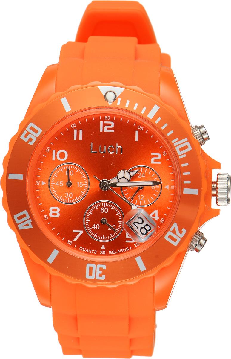 Часы наручные женские Луч, цвет: оранжевый. 728885015BM8434-58AEСтильные женские часы Луч выполнены из пластика и силикона. Циферблат оформлен символикой бренда и дополнен индикатором даты, секундомером и индикатором суточного времени.Корпус часов оснащен кварцевым механизмом со сменным элементом питания, а также дополнен браслетом, который застегивается на практичную пряжку. На стрелки нанесен светящийся состав.Часы поставляются в фирменной упаковке.Часы Луч подчеркнут отменное чувство стиля их обладателя.