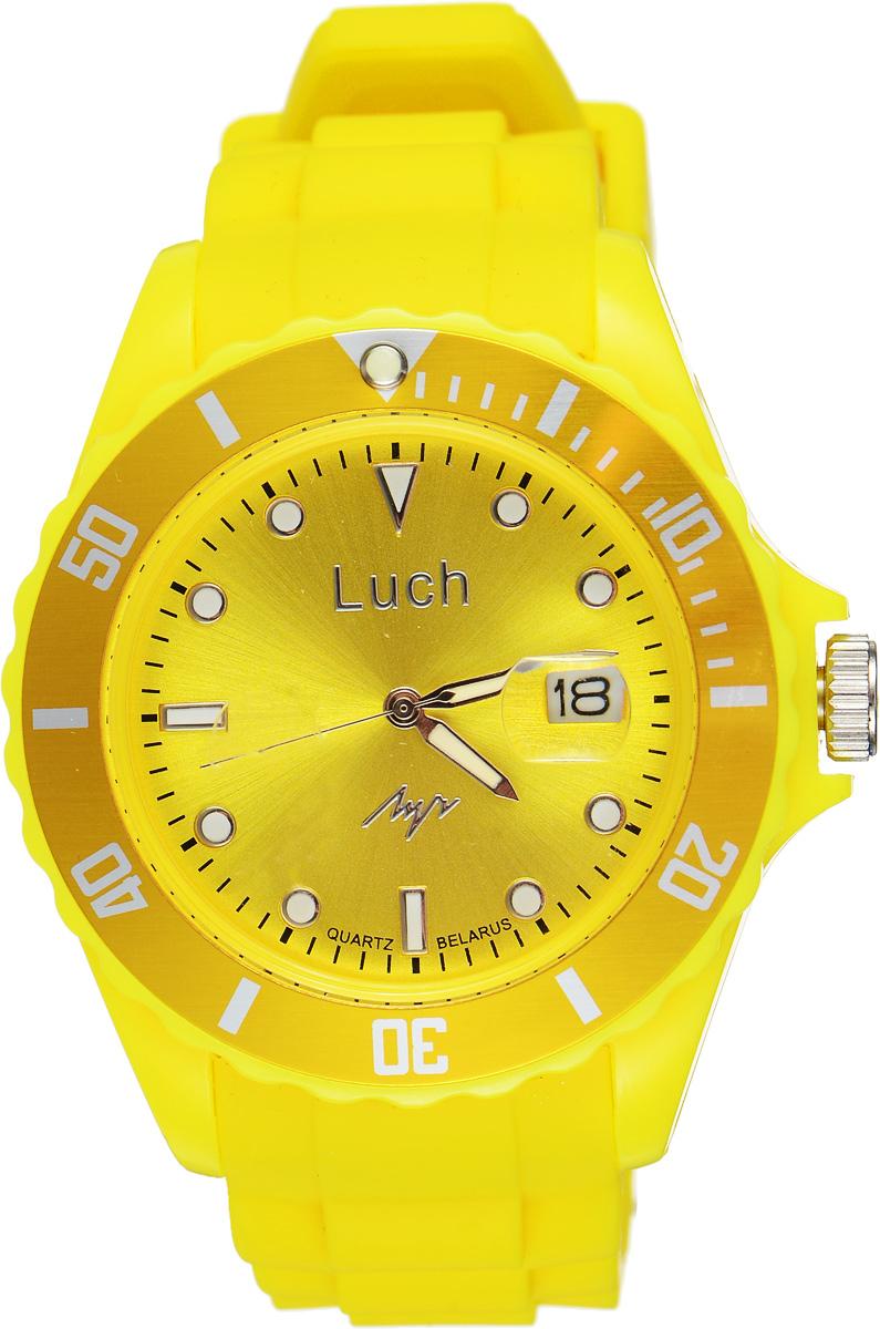 Часы наручные женские Луч, цвет: желтый. 728785932BM8434-58AEСтильные женские часы Луч выполнены из пластика и силикона. Циферблат оформлен символикой бренда и дополнен индикатором даты.Корпус часов оснащен кварцевым механизмом со сменным элементом питания, а также дополнен браслетом, который застегивается на практичную пряжку. На стрелки и циферблат нанесен светящийся состав.Часы поставляются в фирменной упаковке.Часы Луч подчеркнут изящность женской руки и отменное чувство стиля у их обладательницы.