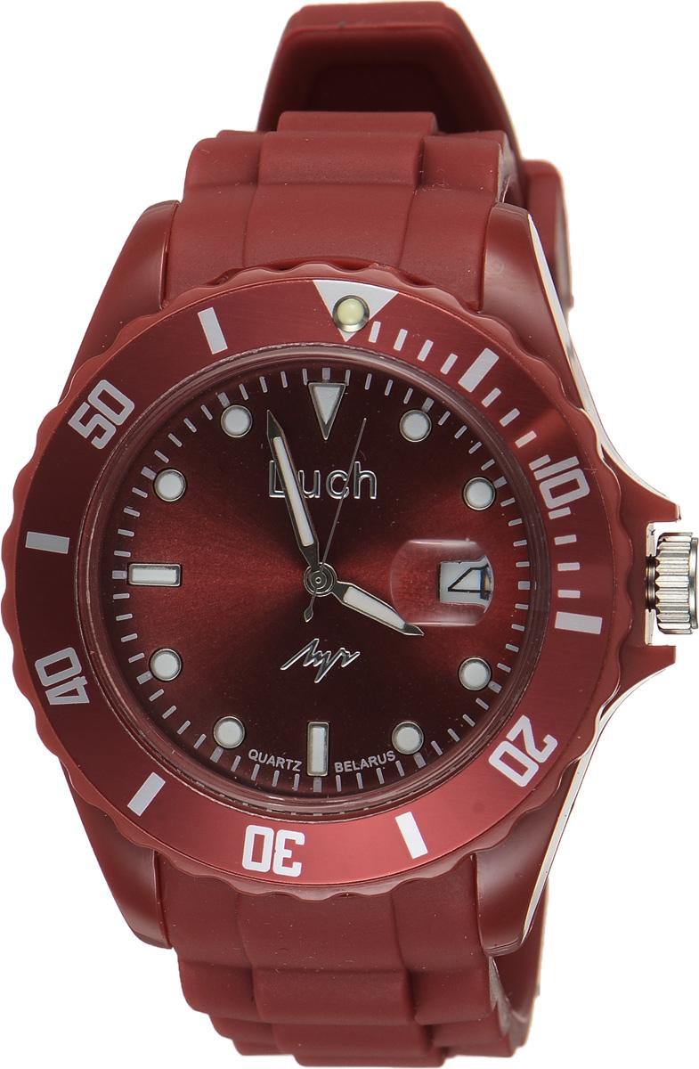 Часы наручные женские Луч, цвет: бордовый. 728785933BM8434-58AEСтильные женские часы Луч выполнены из пластика и силикона. Циферблат оформлен символикой бренда и дополнен индикатором даты.Корпус часов оснащен кварцевым механизмом со сменным элементом питания, а также дополнен браслетом, который застегивается на практичную пряжку. На стрелки и циферблат нанесен светящийся состав.Часы поставляются в фирменной упаковке.Часы Луч подчеркнут изящность женской руки и отменное чувство стиля у их обладательницы.