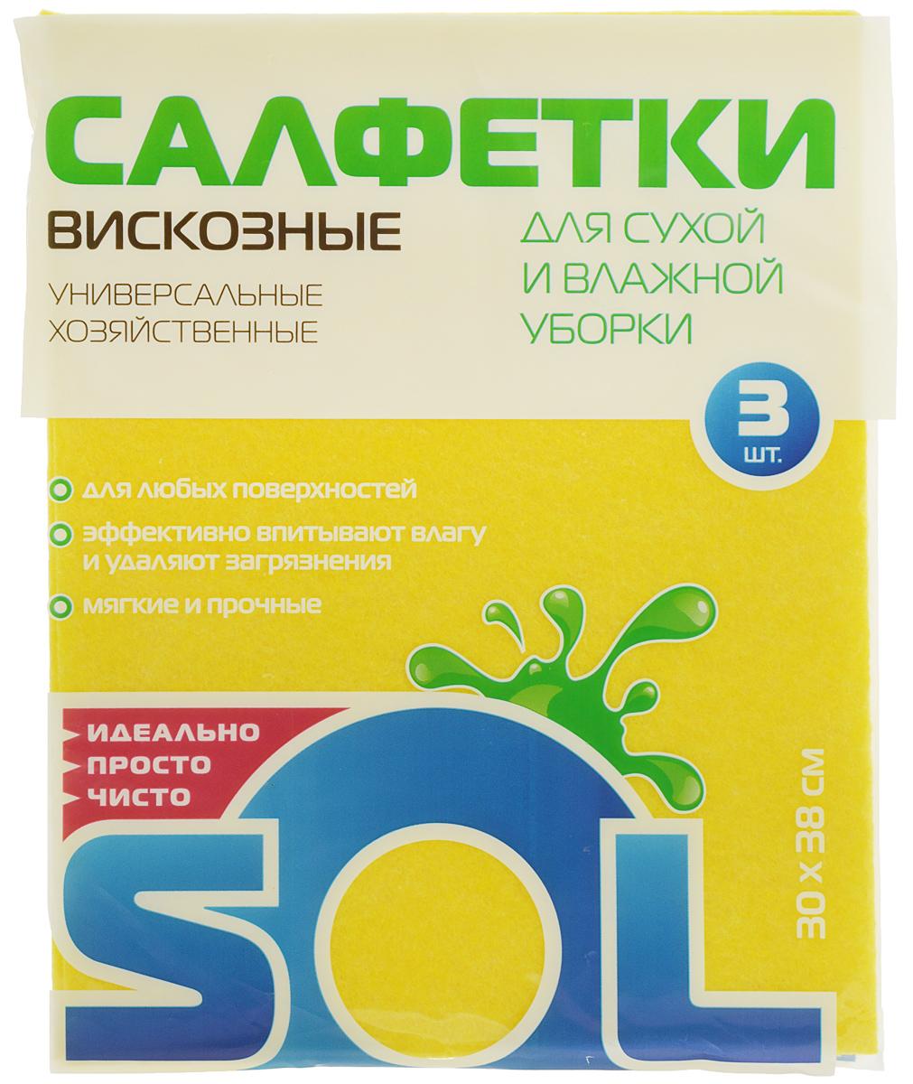 Салфетка для уборки Sol из вискозы, универсальная, цвет: желтый, 30 x 38 см, 3 шт531-105Салфетки для уборки Sol, выполненные из вискозы, предназначены для уборки и могут применяться с различными моющими средствами. Эффективно впитывают жидкость. Мягкие и прочные, легко отжимаются и быстро сохнут.Рекомендации по уходу: Для обеспечения гигиеничности уборки после применения прополоскать в теплой воде.Для продления срока службы не применять машинную стирку, не гладить и не кипятить.
