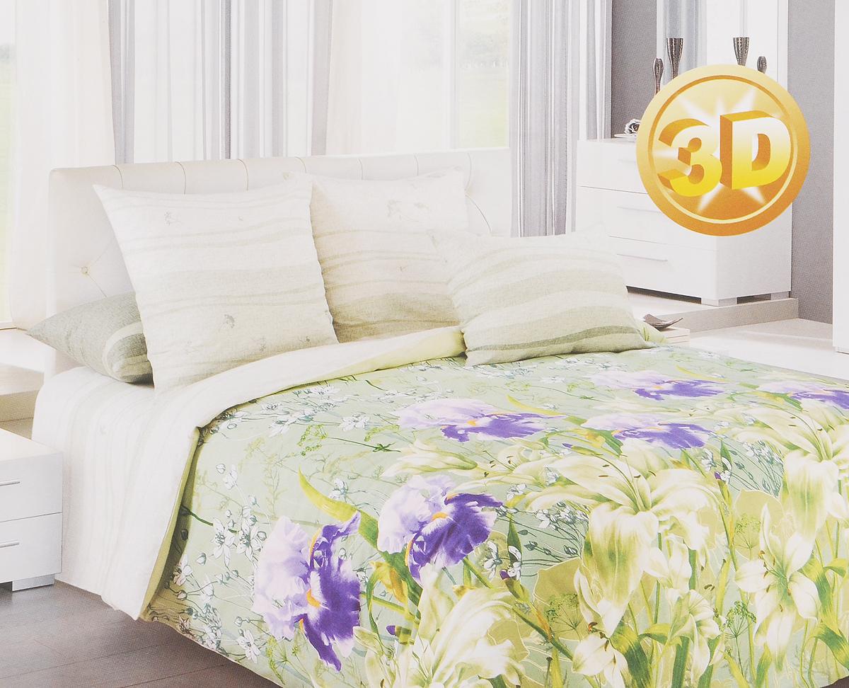 Комплект белья 3D Primavera Флора, 1,5-спальный, наволочки 70х70, цвет: зеленый, белый, фиолетовый80621Комплект постельного белья Primavera Флора является экологически безопасным для всей семьи, так как выполнен из перкаля премиум класса - экологически чистой ткани на основе натурального хлопка.Комплект состоит из пододеяльника, простыни и двух наволочек. Постельное белье оформлено ярким рисунком цветов с эффектом 3D и имеет изысканный внешний вид. Перкаль - это тонкая и легкая хлопчатобумажная ткань высокой плотности полотняного переплетения, сотканная из пряжи высоких номеров. При изготовлении перкаля используются длинноволокнистые сорта хлопка, что обеспечивает высокие потребительские свойства материала.Перкаль очень шелковистая и мягкая на ощупь ткань, нежная и тонкая, но при этом удивительно прочная. Несмотря на свою утонченность, перкаль очень практичен - это одна из самых износостойких тканей для постельного белья.Приобретая комплект постельного белья Primavera Флора, вы можете быть уверенны в том, что покупка доставит вам и вашим близким удовольствие и подарит максимальный комфорт.