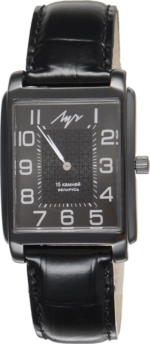 Часы наручные мужские Луч, цвет: черный. 737299078BM8434-58AEСтильные часы Луч выполнены из металлического сплава и органического стекла. Прямоугольный циферблат часов оформлен символикой бренда.Механические часы с 15 рубиновыми камнями и противоударным устройством оси баланса дополнены ремешком из натуральной кожи с лаковым покрытием и декоративным тиснением, который застегивается на практичную пряжку.Часы Луч подчеркнут мужской характер и отменное чувство стиля их обладателя.