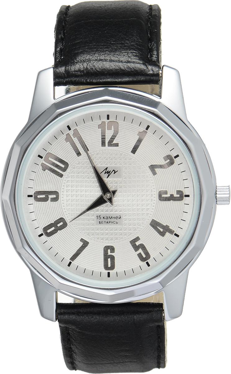 Часы наручные мужские Луч, цвет: серебряный, черный. 78161397BM8434-58AEСтильные часы Луч выполнены из металлического сплава и силикатного стекла. Корпус по кругу оформлен гранями и имеет покрытие из хрома, которое обладает особой стойкостью к стиранию и не вызывает аллергических реакций кожи. Циферблат оформлен символикой бренда.Механические часы с 15 рубиновыми камнями и противоударным устройством оси баланса дополнены ремешком из натуральной кожи с декоративным тиснением, который застегивается на практичную пряжку.Часы поставляются в фирменной упаковке.Часы Луч подчеркнут отменное чувство стиля их обладателя.