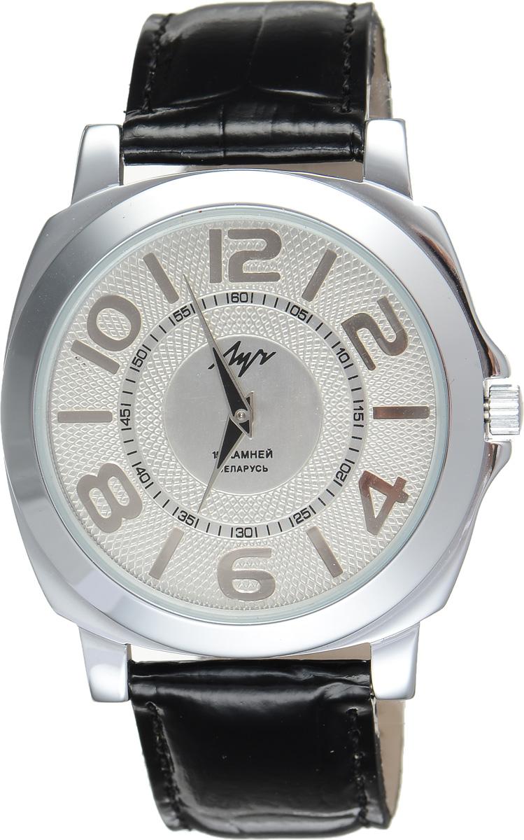 Часы наручные мужские Луч, цвет: серебряный, черный. 78831675BM8434-58AEСтильные часы Луч выполнены из металлического сплава и силикатного стекла. Корпус имеет покрытие из хрома, которое обладает особой стойкостью к стиранию. Циферблат оформлен символикой бренда.Механические часы с 15 рубиновыми камнями и противоударным устройством оси баланса дополнены ремешком из натуральной кожи с лаковым покрытием и декоративным тиснением, который застегивается на практичную пряжку.Часы поставляются в фирменной упаковке.Часы Луч подчеркнут отменное чувство стиля их обладателя.