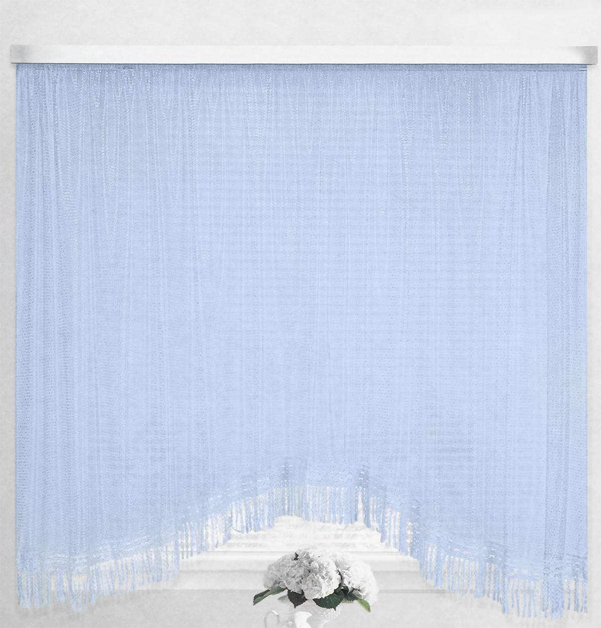 Штора-арка ТД Текстиль Капли росы, на ленте, цвет: голубой, высота 165 смVCA-00Штора-арка ТД Текстиль Капли росы великолепно украсит любое окно. Штора выполнена из качественного сетчатого полиэстера и декорирована бахромой. Полупрозрачная ткань, оригинальный дизайн и приятная цветовая гамма привлекут к себе внимание и позволят шторе органично вписаться в интерьер помещения. Штора крепится на карниз при помощи шторной ленты, которая поможет красиво и равномерно задрапировать верх. Изделие отлично подходит для кухни, столовой, спальни.