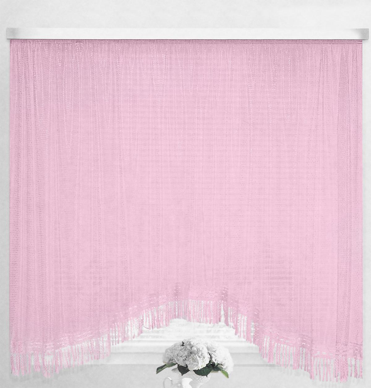 Штора-арка ТД Текстиль Капли росы, на ленте, цвет: розовый, высота 165 смK100Штора-арка ТД Текстиль Капли росы великолепно украсит любое окно. Штора выполнена из качественного сетчатого полиэстера и декорирована бахромой. Полупрозрачная ткань, оригинальный дизайн и приятная цветовая гамма привлекут к себе внимание и позволят шторе органично вписаться в интерьер помещения. Штора крепится на карниз при помощи шторной ленты, которая поможет красиво и равномерно задрапировать верх. Изделие отлично подходит для кухни, столовой и спальни.