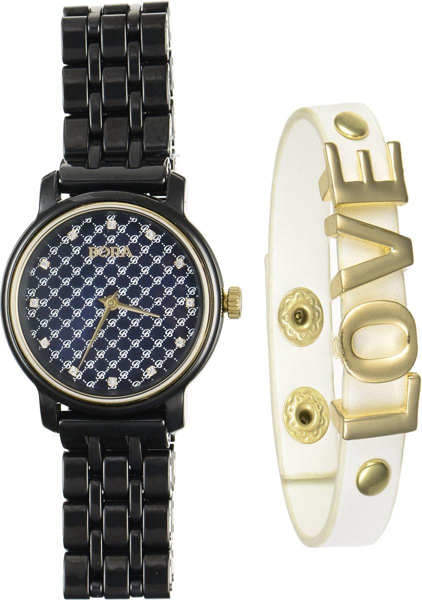 Часы наручные женские Bora, с браслетом, цвет: черный, молочный, золотой. T-B-6718BM8434-58AEЭлегантные женские часы Bora выполнены из керамики и минерального стекла. Перламутровый циферблат дополнен контрастным орнаментом, символикой бренда и инкрустирован стразами.Корпус часов оснащен кварцевым механизмом со сменным элементом питания, а также дополнен браслетом, который застегивается на металлическую застежку-бабочку.Стильный браслет выполнен из искусственной кожи с декоративными элементами из бижутерийного сплава. Эффектно дополняет украшение надпись Love, выполненная из подвижных элементов. Украшение застегивается на кнопку.Часы и браслет поставляются в фирменной упаковке.Часы Bora с браслетом подчеркнут изящность женской руки и отменное чувство стиля у их обладательницы.
