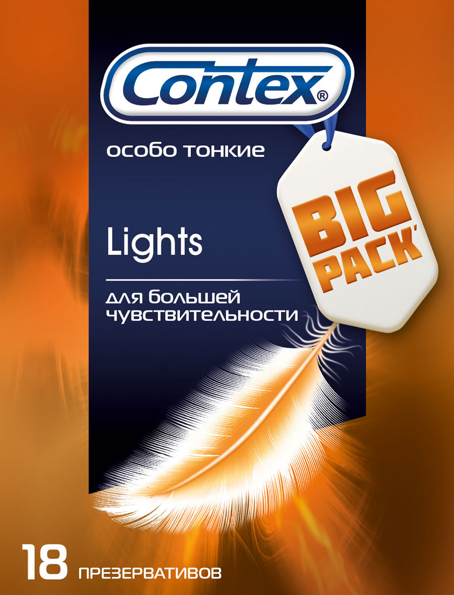 Contex Презервативы Lights, максимально чувствительные, 18 шт5010777139655Особо тонкие презервативы Сontex Lights в силиконовой смазке с накопителем. Презервативы сохранят естественность ощущений, не снижая уровня защиты. Не рекомендуется использовать ректально.Прозрачные из натурального латекса с гелем-смазкой. Храните в прохладном сухом месте, вдали от воздействия прямых солнечных лучей. Пожалуйста, внимательно прочтите памятку внутри упаковки, особенно если вы собираетесь использовать презервативы для орального или анального секса. Презервативы предназначены только для одноразового применения. Если вы почувствуете дискомфорт или раздражение во время использования презерватива, прекратите использование. Если симптомы будут продолжаться, пожалуйста, обратитесь к врачу.