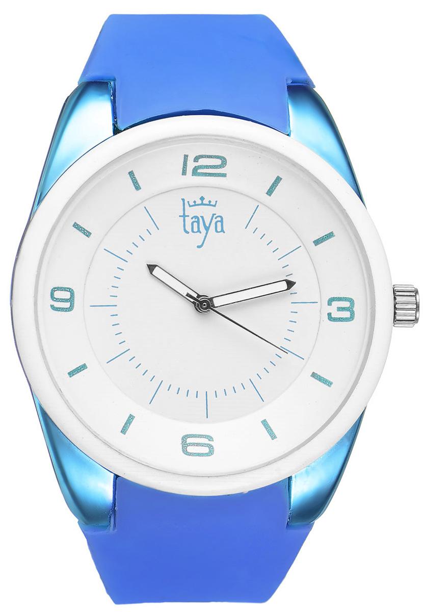 Часы наручные женские Taya, цвет: белый, синий. T-W-0251BM8434-58AEСтильные женские часы Taya выполнены из минерального стекла, силикона и нержавеющей стали. Циферблат часов украшен символикой бренда.Корпус часов оснащен кварцевым механизмом со сменным элементом питания, а также дополнен силиконовым ремешком, который застегивается на пряжку. На стрелки нанесен светящийся состав.Часы поставляются в фирменной упаковке.Часы Taya подчеркнут изящность женской руки и отменное чувство стиля у их обладательницы.