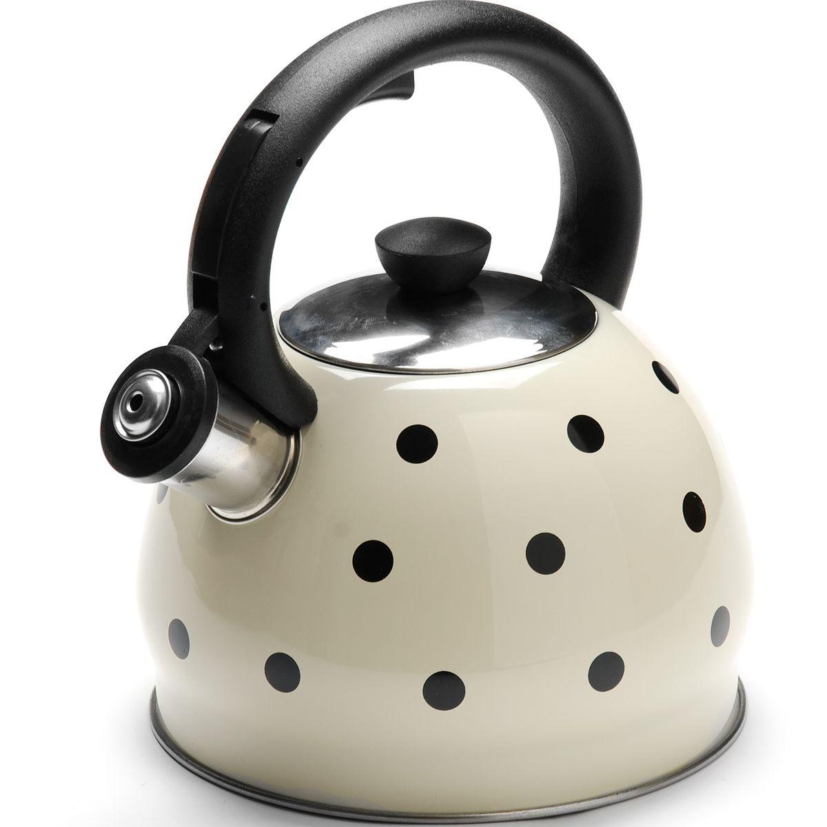 Чайник Mayer & Boch Горох, со свистком, 2 л. 2589268/5/3Чайник со свистком Mayer & Boch изготовлен из высококачественной нержавеющей стали, что обеспечивает долговечность использования. Носик чайника оснащен откидным свистком, звуковой сигнал которого подскажет, когда закипит вода. Свисток открывается нажатием кнопки на фиксированной ручке, сделанной из пластика. Чайник Mayer & Boch - качественное исполнение и стильное решение для вашей кухни. Подходит для всех типов плит, включая индукционные. Можно мыть в посудомоечной машине. Высота чайника (с учетом ручки и крышки): 20 см.Высота чайника (без учета ручки и крышки): 12 см.Диаметр чайника (по верхнему краю): 9 см.Диаметр основания: 16,5 см.