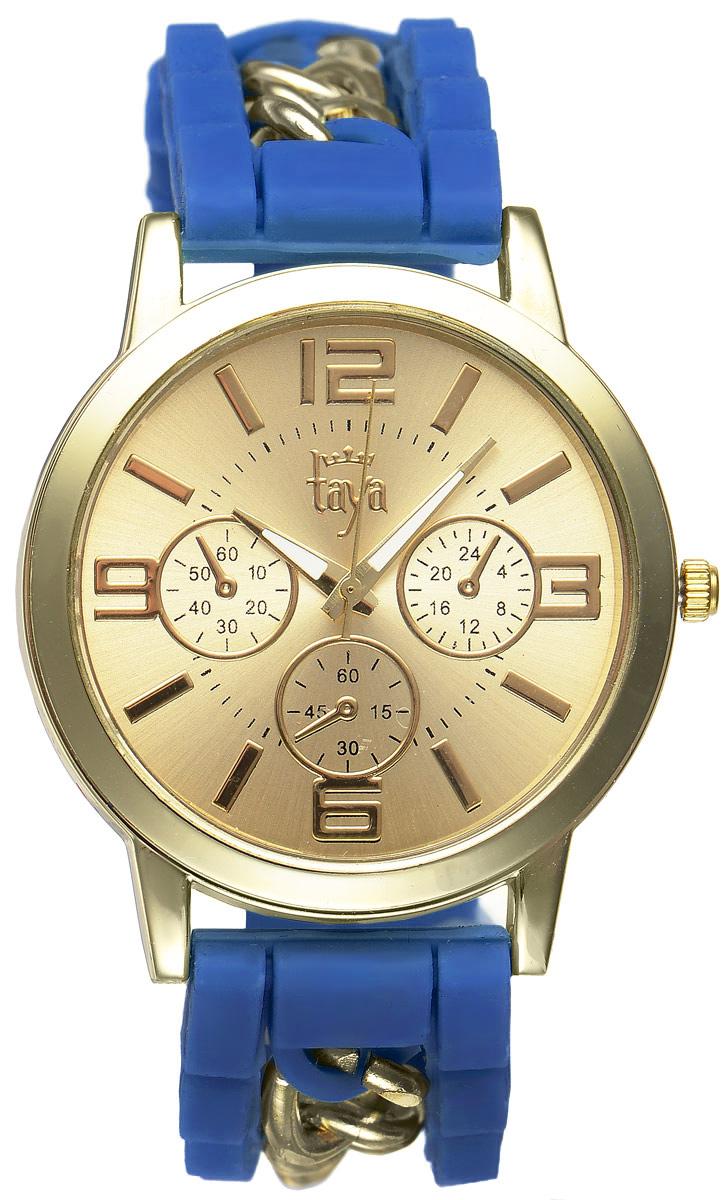 Часы наручные женские Taya, цвет: золотистый, синий. T-W-0214BM8434-58AEСтильные женские часы Taya выполнены из минерального стекла, силикона и нержавеющей стали. Циферблат часов оформлен символикой бренда и тремя декоративными отметками.Корпус оснащен кварцевым механизмом со сменным элементом питания. На стрелки нанесен светящийся состав. Браслет, выполненный из силикона и декорированный цепочками, застегивается на практичную пряжку.Изделие поставляется в фирменной упаковке.Часы Taya подчеркнут изящность женской руки и отменное чувство стиля у их обладательницы.