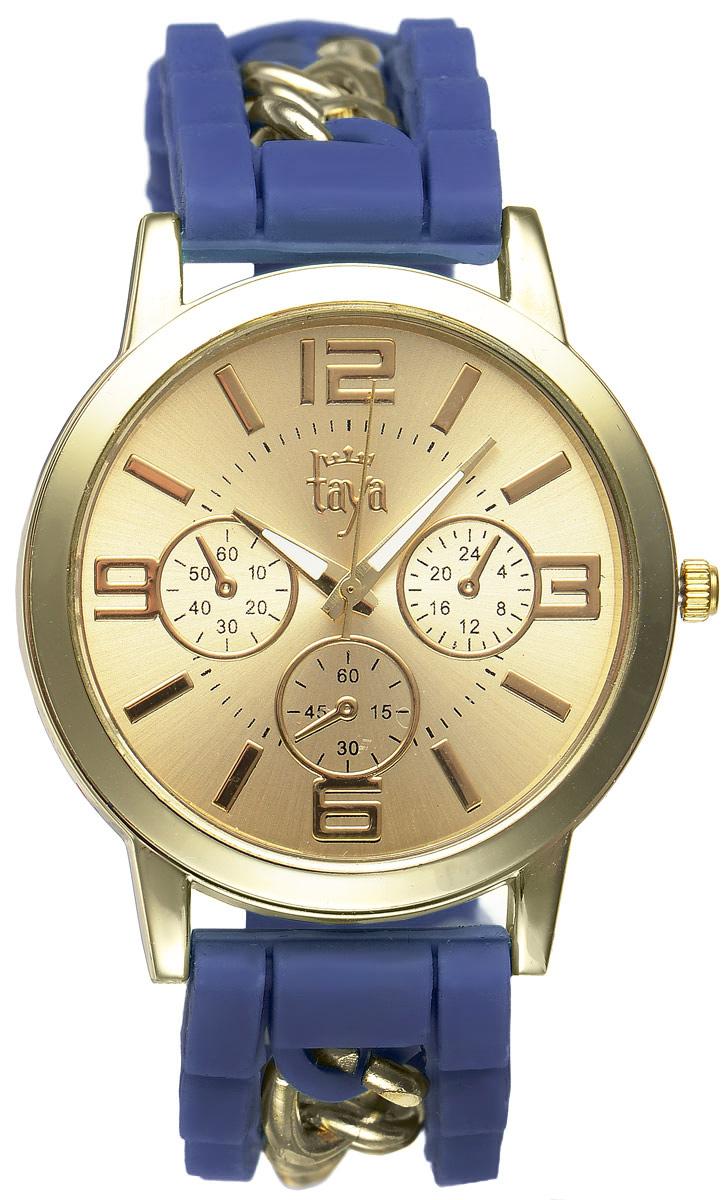 Часы наручные женские Taya, цвет: золотистый, темно-синий. T-W-0218BM8434-58AEСтильные женские часы Taya выполнены из минерального стекла, силикона и нержавеющей стали. Циферблат часов оформлен символикой бренда и тремя декоративными отметками.Корпус оснащен кварцевым механизмом со сменным элементом питания. На стрелки нанесен светящийся состав. Браслет, выполненный из силикона и декорированный цепочками, застегивается на практичную пряжку.Изделие поставляется в фирменной упаковке.Часы Taya подчеркнут изящность женской руки и отменное чувство стиля у их обладательницы.