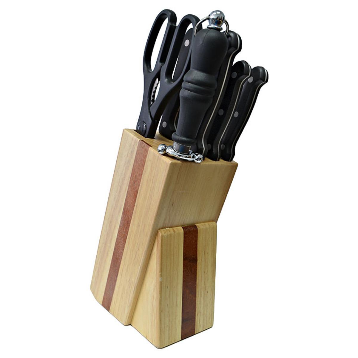 Кухонный набор Marvel Classic Series, цвет: серый, 8 предметов54 009312Кухонный набор Marvel Classic Series состоит из пяти ножей (поварского, хлебного, разделочного, универсального, для очистки), мусата и кухонных ножниц. Лезвия ножей и ножниц выполнены из высоколегированной углеродистой стали, устойчивой к деформации и коррозии, а рукоятки – из прочного пластика. Лезвия ножей и ножниц надолго сохранят свою заводскую заточку. Все предметы из набора располагаются на компактной деревянной подставке. Практичный и удобный набор ножей найдет свое место на каждой кухне.