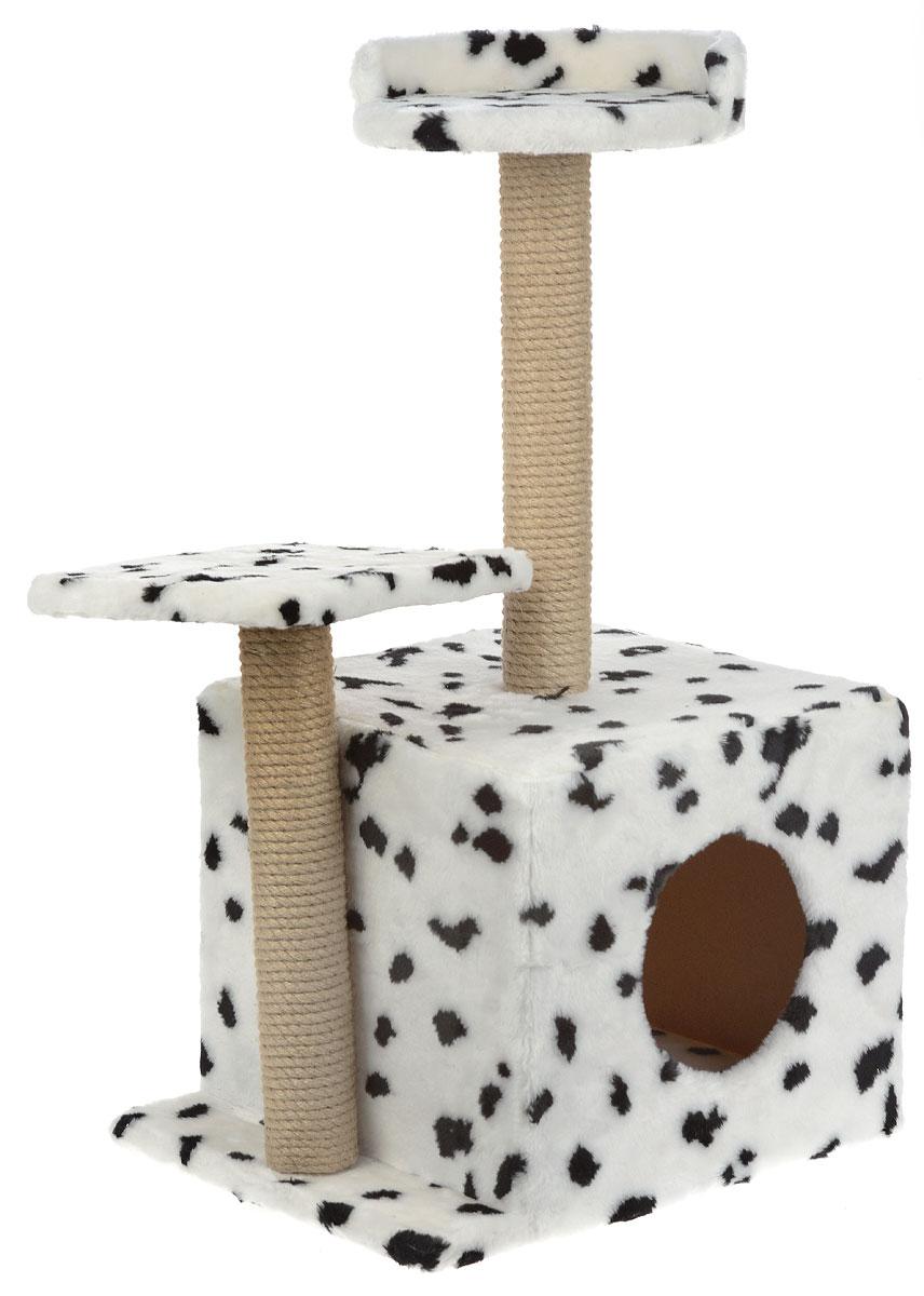 Игровой комплекс для кошек Меридиан, с домиком и когтеточкой, цвет: белый, черный, бежевый, 35 х 45 х 75 см101246Игровой комплекс для кошек Меридиан выполнен из высококачественного ДВП и ДСП и обтянут искусственным мехом. Изделие предназначено для кошек. Ваш домашний питомец будет с удовольствием точить когти о специальные столбики, изготовленные из джута. А отдохнуть он сможет либо на полках разной высоты, либо в расположенном внизу домике.Общий размер: 50 х 37 х 74 см.Размер домика: 46 х 37 х 33 см.Высота полок (от пола): 74 см, 45 см.Размер полок: 27 х 27 см, 26 х 26 см.