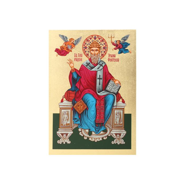 Икона Артола Святитель Спиридон, 12,5 см х 16,5 см х 2 смFS-80423Православная каноничная икона. Современная оригинальная интерпретация. Афинская иконописная школа. Метод нанесения образа на полотно - полноцветная многослойная шелкография. Золотой фон - поталь. Деревянная основа (мдф + шпон) имеет отверстие для крепления.