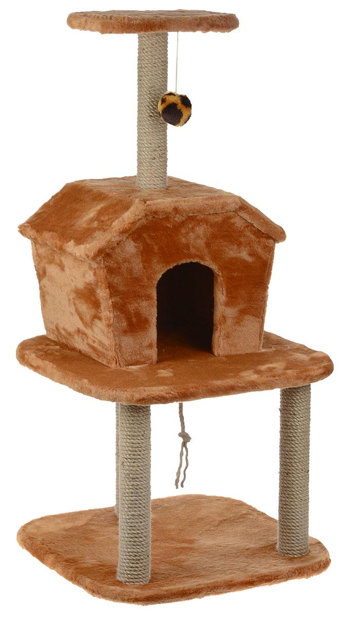 Игровой комплекс для кошек ЗооМарк Барсик, с домиком и когтеточкой, цвет: бежевый, 56 х 56 х 115 см0120710Игровой комплекс для кошек ЗооМарк Барсик выполнен из высококачественного дерева и обтянут искусственным мехом. Изделие предназначено для кошек. Ваш домашний питомец будет с удовольствием точить когти о специальные столбики, изготовленные из джута. А отдохнуть он сможет либо на полках, либо в домике. На одной из полок расположена игрушка, которая еще сильнее привлечет внимание питомца.Общий размер: 56 х 56 х 115 см.Размер домика: 46 х 35 х 34 см.Размер верхней полки: 32 х 25 см.