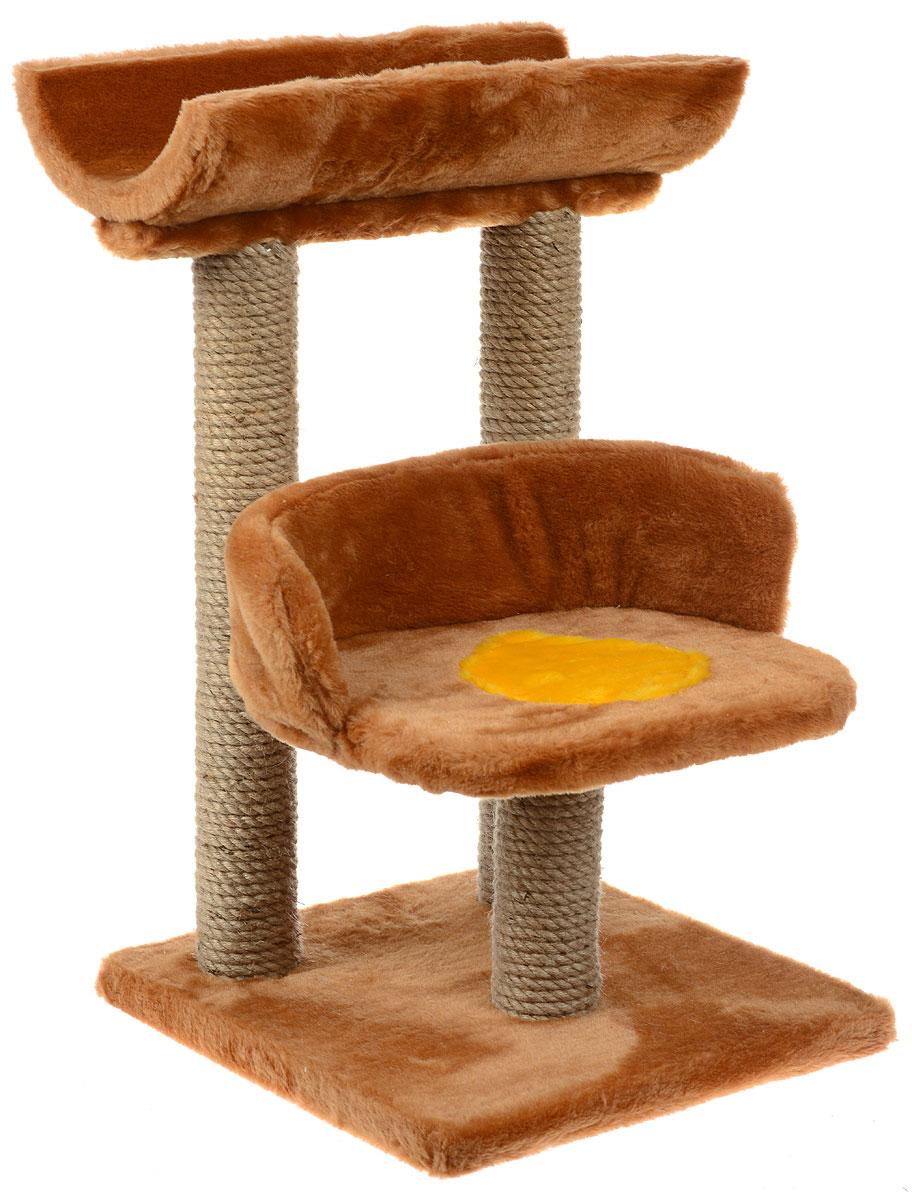 Игровой комплекс для кошек ЗооМарк Матильда, цвет: коричневый, желтый, бежевый, 36 х 36 х 58 см134Игровой комплекс для кошек ЗооМарк Матильда прекрасно подойдет для животного, которое длительное время остается одно дома. Обеспечивая уютное место для сна и отдыха, комплекс является отличной игровой площадкой для развлечения скучающего животного. Комплекс изготовлен из дерева и обтянут искусственным мехом. Столбики, выполненные из джута, на длительное время отвлекут вашу кошку от мягкой мебели и обоев в доме. Комплекс имеет лежак, на котором животное сможет отдохнуть. Сверху имеется седло.Общий размер комплекса: 36 х 36 х 58 см.Размер туннеля: 42 х 19 х 9 см.Размер лежака (рабочая часть): 33 х 25 см.