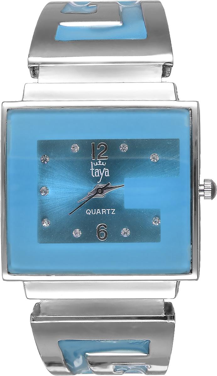 Часы наручные женские Taya, цвет: серебристый, голубой. T-W-0400BM8434-58AEСтильные женские часы Taya выполнены из минерального стекла и нержавеющей стали. Циферблат часов инкрустирован стразами и украшен символикой бренда.Корпус часов оснащен кварцевым механизмом со сменным элементом питания, а также дополнен раздвижным браслетом с пружинным механизмом, который позволяет надеть часы на любую руку. Браслет оформлен цветной эмалью.Часы поставляются в фирменной упаковке.Часы Taya подчеркнут изящность женской руки и отменное чувство стиля у их обладательницы.