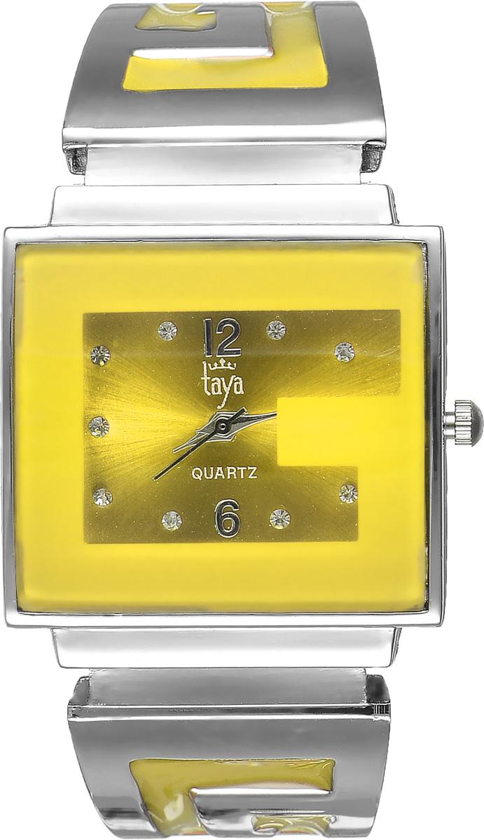 Часы наручные женские Taya, цвет: серебристый, желтый. T-W-0404BM8434-58AEСтильные женские часы Taya выполнены из минерального стекла и нержавеющей стали. Циферблат часов инкрустирован стразами и украшен символикой бренда.Корпус часов оснащен кварцевым механизмом со сменным элементом питания, а также дополнен раздвижным браслетом с пружинным механизмом, который позволяет надеть часы на любую руку. Браслет оформлен цветной эмалью.Часы поставляются в фирменной упаковке.Часы Taya подчеркнут изящность женской руки и отменное чувство стиля у их обладательницы.