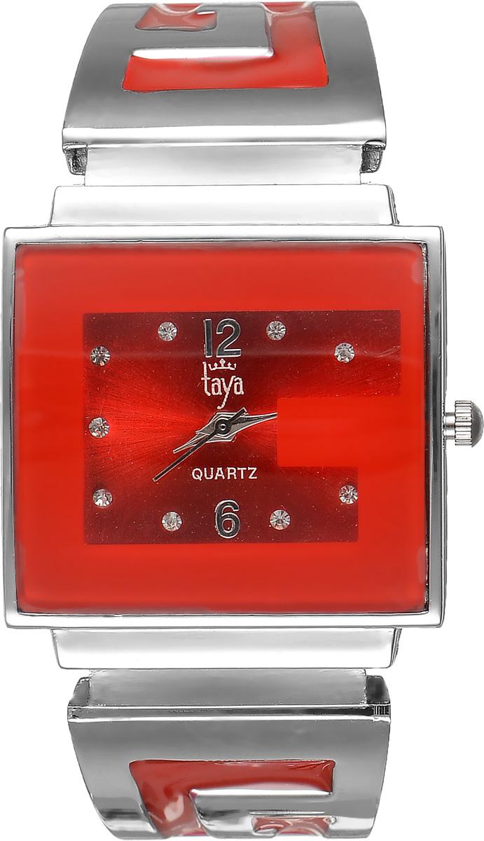 Часы наручные женские Taya, цвет: серебристый, красный. T-W-0405BM8434-58AEСтильные женские часы Taya выполнены из минерального стекла и нержавеющей стали. Циферблат часов инкрустирован стразами и украшен символикой бренда.Корпус часов оснащен кварцевым механизмом со сменным элементом питания, а также дополнен раздвижным браслетом с пружинным механизмом, который позволяет надеть часы на любую руку. Браслет оформлен цветной эмалью.Часы поставляются в фирменной упаковке.Часы Taya подчеркнут изящность женской руки и отменное чувство стиля у их обладательницы.
