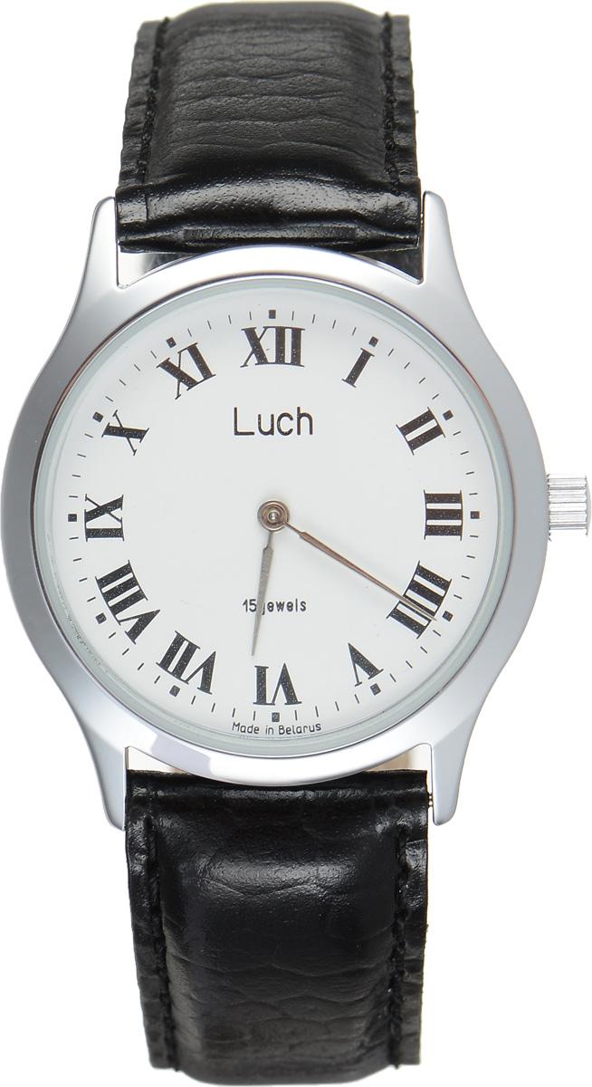 Часы наручные мужские Луч, цвет: серебряный, черный. 35231011BM8434-58AEСтильные часы Луч выполнены из металлического сплава и силикатного стекла. Круглый корпус часов имеет покрытие из хрома, обладающее особой стойкостью к стиранию, циферблат оформлен символикой бренда.Механические часы с 15 рубиновыми камнями и противоударным устройством оси баланса дополнены ремешком из натуральной кожи с декоративным тиснением, который застегивается на практичную пряжку.Часы Луч подчеркнут мужской характер и отменное чувство стиля у их обладателя.