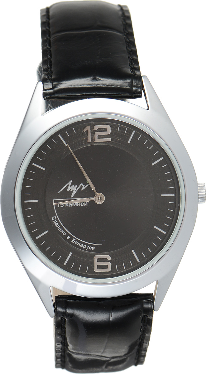 Часы наручные мужские Луч, цвет: серебряный, черный. 35341256BM8434-58AEСтильные часы Луч выполнены из металлического сплава и силикатного стекла. Круглый корпус часов имеет покрытие из хрома, обладающее особой стойкостью к стиранию, циферблат оформлен символикой бренда.Механические часы с 15 рубиновыми камнями и противоударным устройством оси баланса дополнены ремешком из натуральной кожи с лаковым покрытием и декоративным тиснением, который застегивается на практичную пряжку.Часы Луч подчеркнут мужской характер и отменное чувство стиля их обладателя.