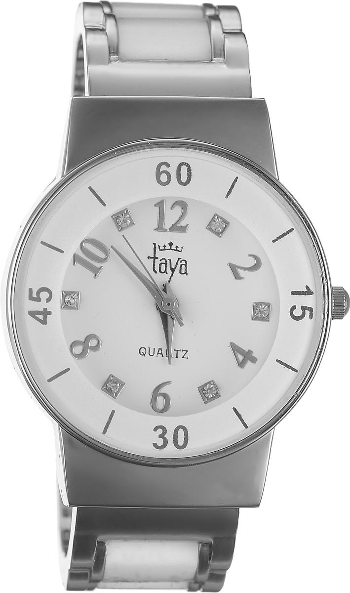 Часы наручные женские Taya, цвет: серебряный, белый. T-W-0467BM8434-58AEСтильные женские часы Taya выполнены из минерального стекла и нержавеющей стали. Циферблат часов инкрустирован стразами и оформлен символикой бренда.Корпус часов оснащен кварцевым механизмом со сменным элементом питания и дополнен раздвижным браслетом с пружинным механизмом, который позволяет надеть часы на любую руку. Браслет часов оформлен цветными вставками.Часы поставляются в фирменной упаковке.Часы Taya подчеркнут изящность женской руки и отменное чувство стиля у их обладательницы.