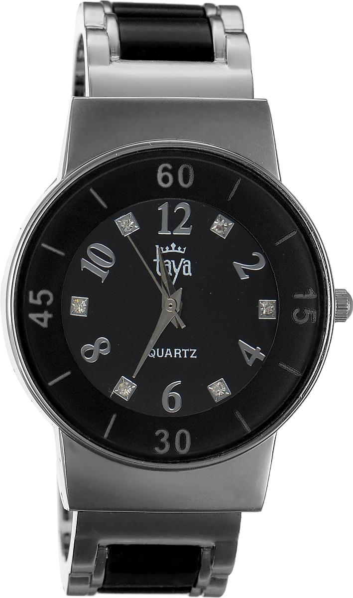 Часы наручные женские Taya, цвет: серебряный, черный. T-W-0469BM8434-58AEСтильные женские часы Taya выполнены из минерального стекла и нержавеющей стали. Циферблат часов инкрустирован стразами и оформлен символикой бренда.Корпус часов оснащен кварцевым механизмом со сменным элементом питания и дополнен раздвижным браслетом с пружинным механизмом, который позволяет надеть часы на любую руку. Браслет часов оформлен цветными вставками.Часы поставляются в фирменной упаковке.Часы Taya подчеркнут изящность женской руки и отменное чувство стиля у их обладательницы.