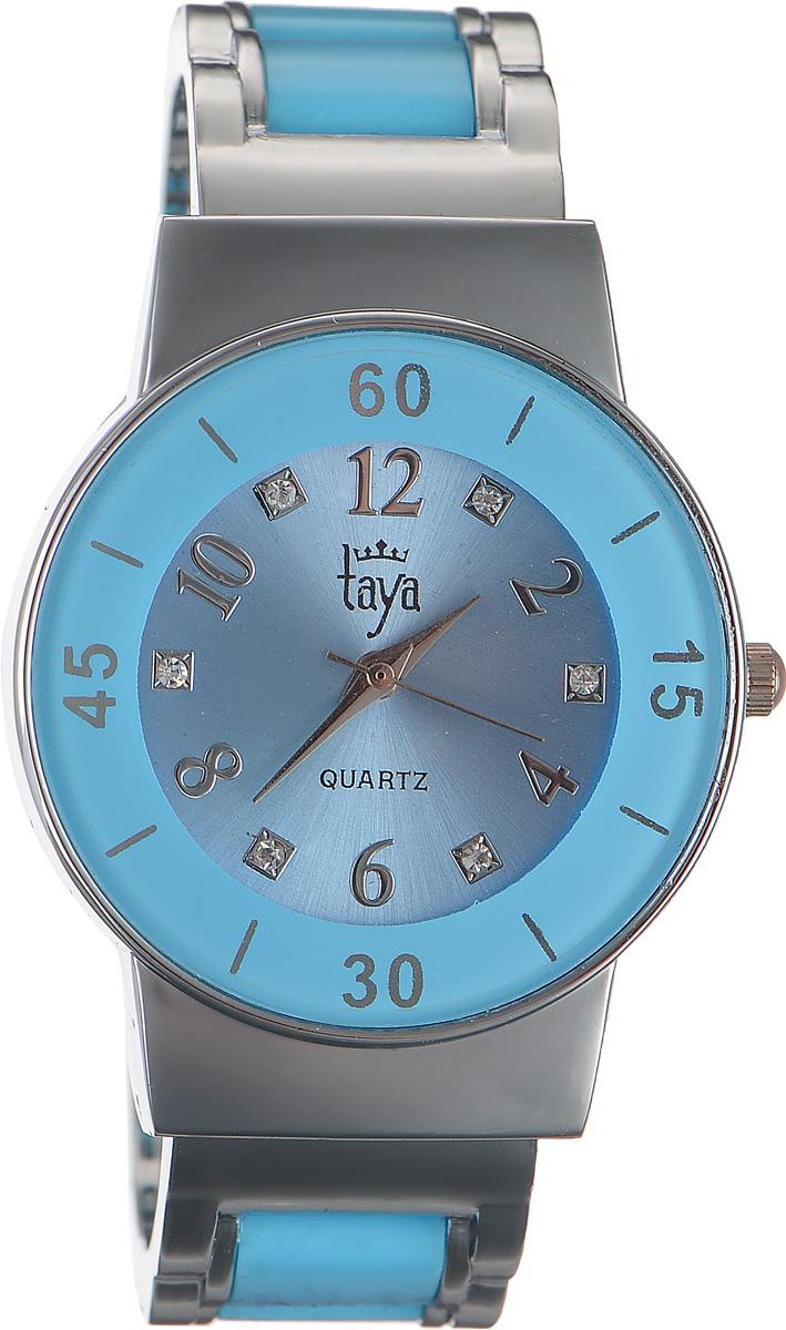 Часы наручные женские Taya, цвет: серебряный, голубой. T-W-0470BM8434-58AEСтильные женские часы Taya выполнены из минерального стекла и нержавеющей стали. Циферблат часов инкрустирован стразами и оформлен символикой бренда.Корпус часов оснащен кварцевым механизмом со сменным элементом питания и дополнен раздвижным браслетом с пружинным механизмом, который позволяет надеть часы на любую руку. Браслет часов оформлен цветными вставками.Часы поставляются в фирменной упаковке.Часы Taya подчеркнут изящность женской руки и отменное чувство стиля у их обладательницы.