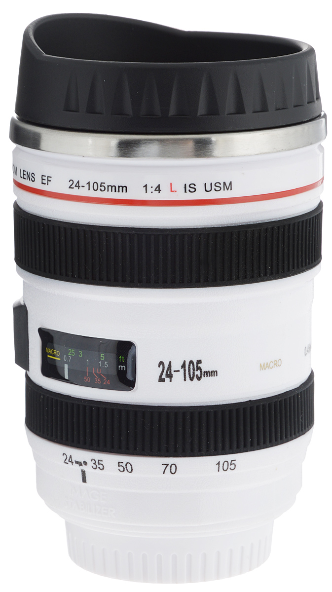 Термостакан Эврика Объектив, цвет: белый, черный, 400 мл. 95386 термостакан объектив цвет черный 95102