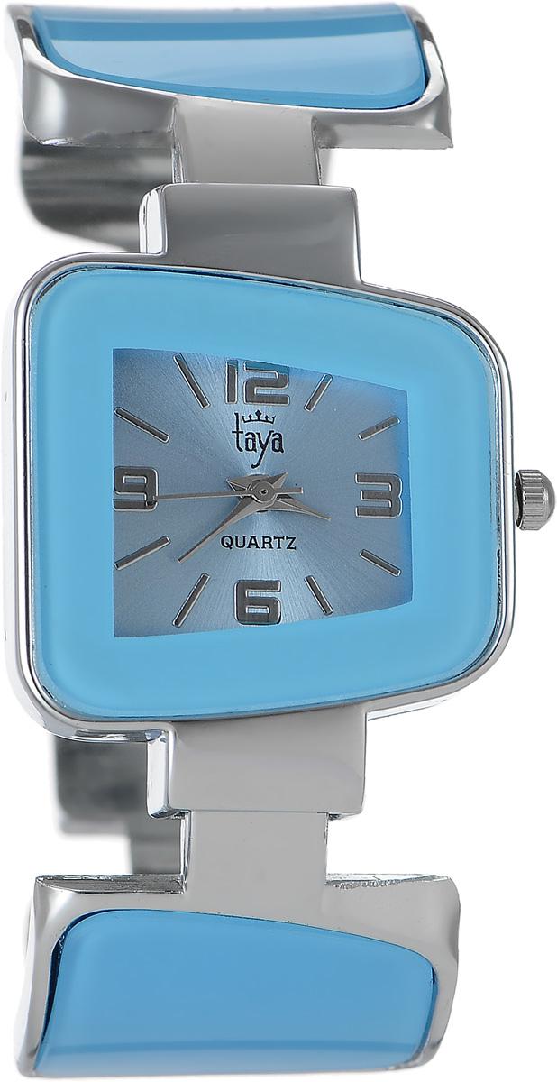 Часы наручные женские Taya, цвет: серебряный, голубой. T-W-0427BM8434-58AEСтильные женские часы Taya выполнены из минерального стекла и нержавеющей стали. Циферблат часов оформлен символикой бренда.Корпус часов оснащен кварцевым механизмом со сменным элементом питания и дополнен раздвижным браслетом с пружинным механизмом, который позволяет надеть часы на любую руку. Браслет часов оформлен цветными вставками.Часы поставляются в фирменной упаковке.Часы Taya подчеркнут изящность женской руки и отменное чувство стиля у их обладательницы.