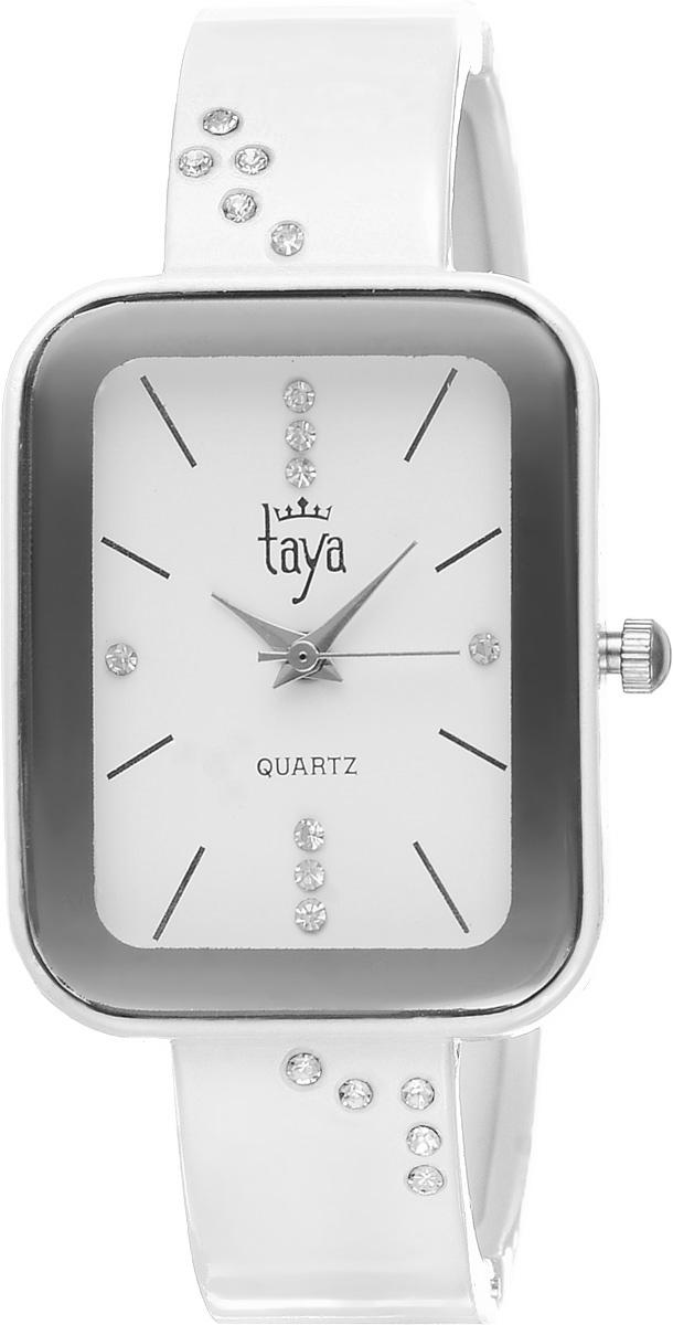 Часы наручные женские Taya, цвет: белый. T-W-0462BM8434-58AEСтильные женские часы Taya выполнены из минерального стекла и нержавеющей стали. Браслет и циферблат часов инкрустированы стразами, циферблат дополнен символикой бренда.Корпус часов оснащен кварцевым механизмом со сменным элементом питания, а также дополнен раздвижным браслетом с пружинным механизмом.Часы поставляются в фирменной упаковке.Часы Taya подчеркнут изящность женской руки и отменное чувство стиля у их обладательницы.