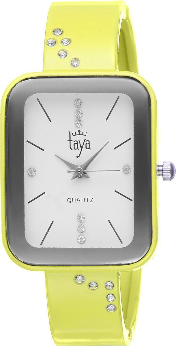 Часы наручные женские Taya, цвет: желтый. T-W-0463BM8434-58AEСтильные женские часы Taya выполнены из минерального стекла и нержавеющей стали. Браслет и циферблат часов инкрустированы стразами, циферблат дополнен символикой бренда.Корпус часов оснащен кварцевым механизмом со сменным элементом питания, а также дополнен раздвижным браслетом с пружинным механизмом.Часы поставляются в фирменной упаковке.Часы Taya подчеркнут изящность женской руки и отменное чувство стиля у их обладательницы.