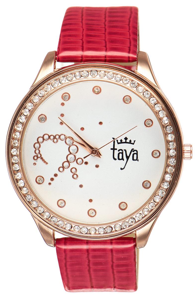Часы наручные женские Taya, цвет: золотистый, красный. T-W-0031BM8434-58AEЭлегантные женские часы Taya выполнены из минерального стекла, искусственной кожи и нержавеющей стали. Циферблат инкрустирован стразами внутри и по внешней стороне окружности.Корпус часов оснащен кварцевым механизмом со сменным элементом питания, а также дополнен ремешком из искусственной кожи, который застегивается на пряжку. Ремешок декорирован тиснением под кожу рептилии.Часы поставляются в фирменной упаковке.Часы Taya подчеркнут изящность женской руки и отменное чувство стиля у их обладательницы.