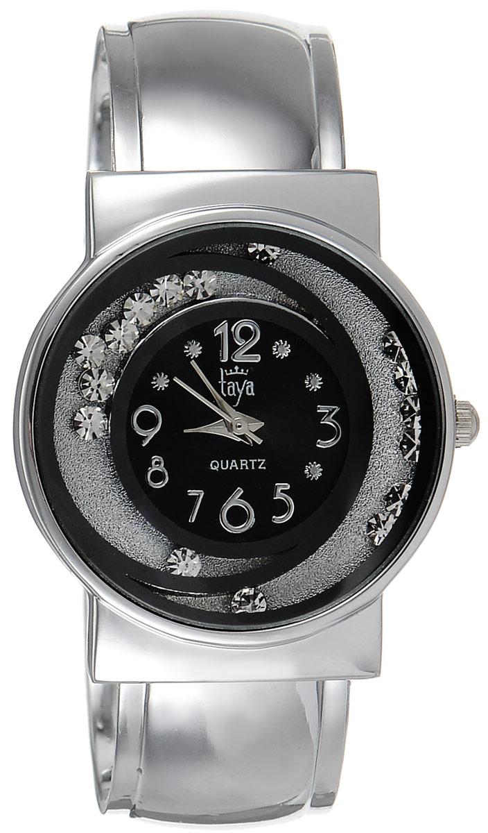 Часы наручные женские Taya, цвет: серебристый, черный. T-W-0412BM8434-58AEСтильные женские часы Taya выполнены из минерального стекла и нержавеющей стали. Циферблат часов украшен символикой бренда и декорирован двумя элементами в виде полумесяцев, внутри которых свободно перемещаются стразы.Корпус часов оснащен кварцевым механизмом со сменным элементом питания, а также дополнен раздвижным браслетом с пружинным механизмом, который позволяет надеть часы на любую руку. Часы поставляются в фирменной упаковке.Часы Taya подчеркнут изящность женской руки и отменное чувство стиля у их обладательницы.