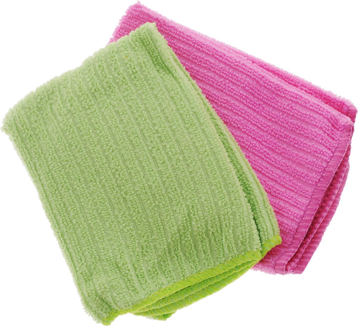 Салфетка из микрофибры Home Queen, цвет: зеленый, розовый, 30 х 30 см, 2 шт391602Салфетка Home Queen изготовлена из микрофибры. Это великолепная гипоаллергенная ткань, изготовленная из тончайших полимерных микроволокон. Салфетка из микрофибры может поглощать количество пыли и влаги, в 7 раз превышающее ее собственный вес. Многочисленные поры между микроволокнами, благодаря капиллярному эффекту, мгновенно впитывают воду, подобно губке. Благодаря мелким порам микроволокна, любые капельки, остающиеся на чистящей поверхности, очень быстро испаряются, и остается чистая дорожка без полос и разводов. В сухом виде при вытирании поверхности волокна микрофибры электризуются и притягивают к себе микробы, мельчайшие частицы пыли и грязи, удерживая их в своих микропорах. Салфетки можно стирать в стиральной машине или вручную при температуре 40°С.