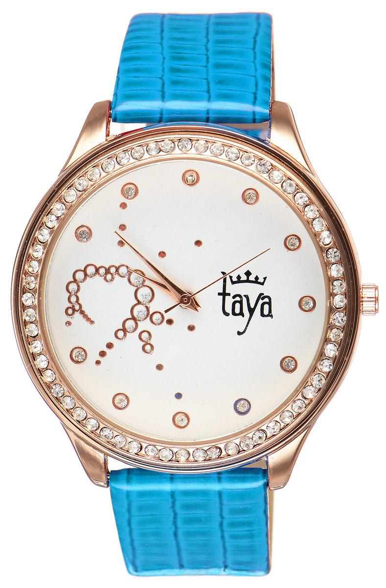 Часы наручные женские Taya, цвет: золотистый, синий. T-W-0032BM8434-58AEЭлегантные женские часы Taya выполнены из минерального стекла, искусственной кожи и нержавеющей стали. Циферблат инкрустирован стразами внутри и по внешней стороне окружности.Корпус часов оснащен кварцевым механизмом со сменным элементом питания, а также дополнен ремешком из искусственной кожи, который застегивается на пряжку. Ремешок декорирован тиснением под кожу рептилии.Часы поставляются в фирменной упаковке.Часы Taya подчеркнут изящность женской руки и отменное чувство стиля у их обладательницы.