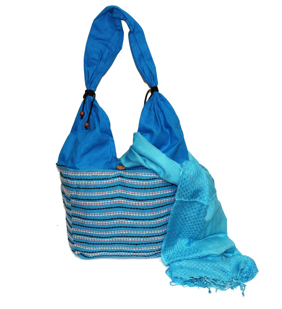 Ethnica Хлопковая сумка-торба, цвет: голубой, в полоску. 122150RK472-02Пляжная женская сумка Ethnica выполнена из хлопковой ткани с декоративной ручной отделкой. Модель с одним отделением, застегивается на пуговицу.