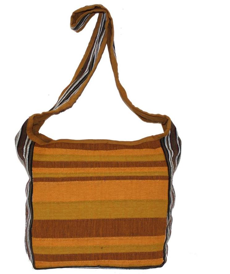 Сумка женская Ethnica, цвет: коричневый, оранжевый. 149140101225Женская сумка Ethnica изготовлена из текстиля. Дополнена модель широкой удобной лямкой и оформлена интересным принтом в полоску. Застегивается изделие на застежку-молнию.