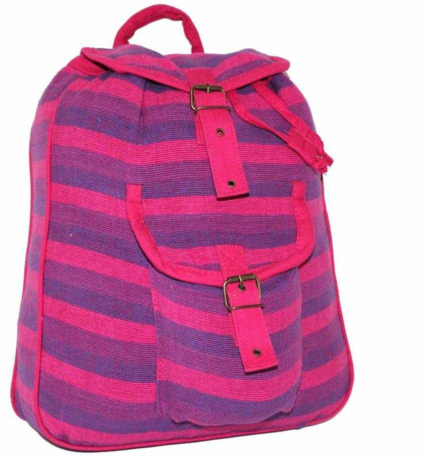 Рюкзак женский Ethnica, цвет: розовый. 187250S76245Стильный женский рюкзак Ethnica выполнен из натурального хлопка. Закрывается изделие при помощи затягивающего шнурка с клапаном на металлической пряжке. Спереди рюкзак дополнен объемным карманом. Оформлена модель ярким принтом в полоску.