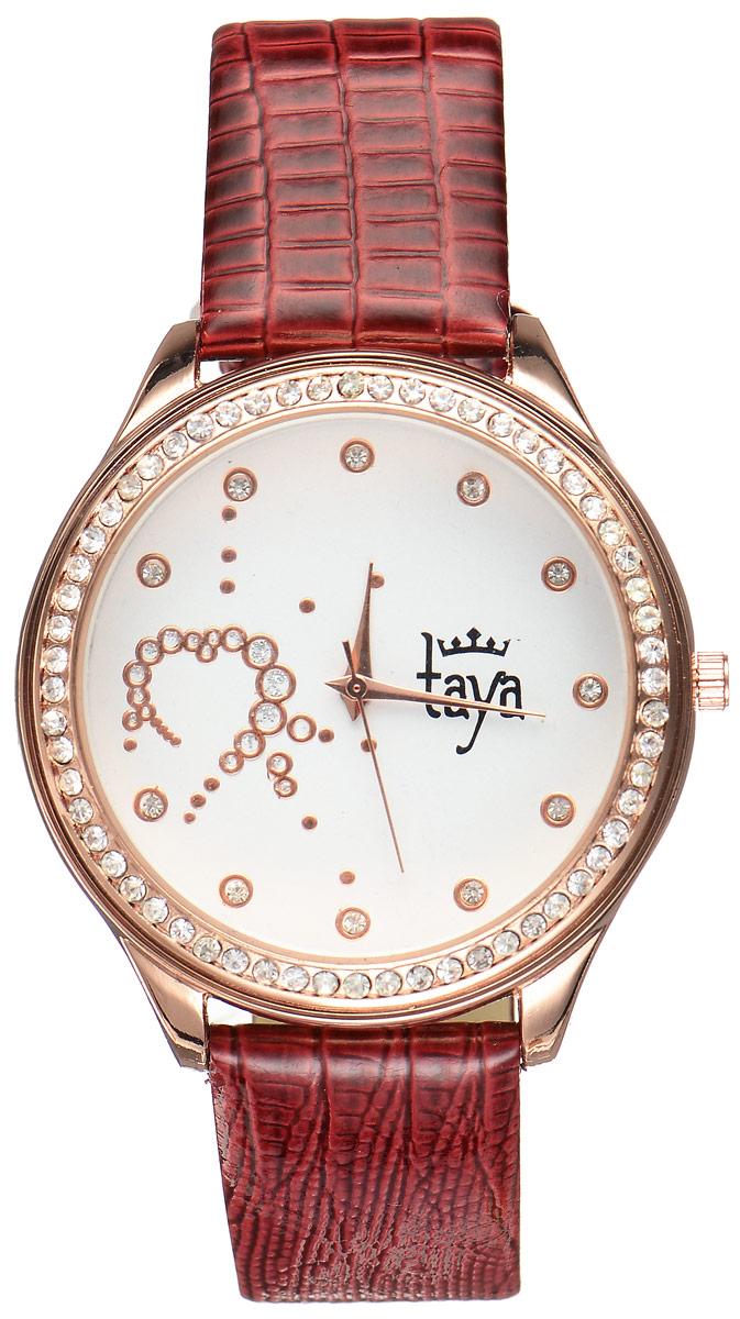 Часы наручные женские Taya, цвет: золотистый, бордовый. T-W-0030BM8434-58AEЭлегантные женские часы Taya выполнены из минерального стекла, искусственной кожи и нержавеющей стали. Циферблат инкрустирован стразами внутри и по внешней стороне окружности.Корпус часов оснащен кварцевым механизмом со сменным элементом питания, а также дополнен ремешком из искусственной кожи, который застегивается на пряжку. Ремешок декорирован тиснением под кожу рептилии.Часы поставляются в фирменной упаковке.Часы Taya подчеркнут изящность женской руки и отменное чувство стиля у их обладательницы.