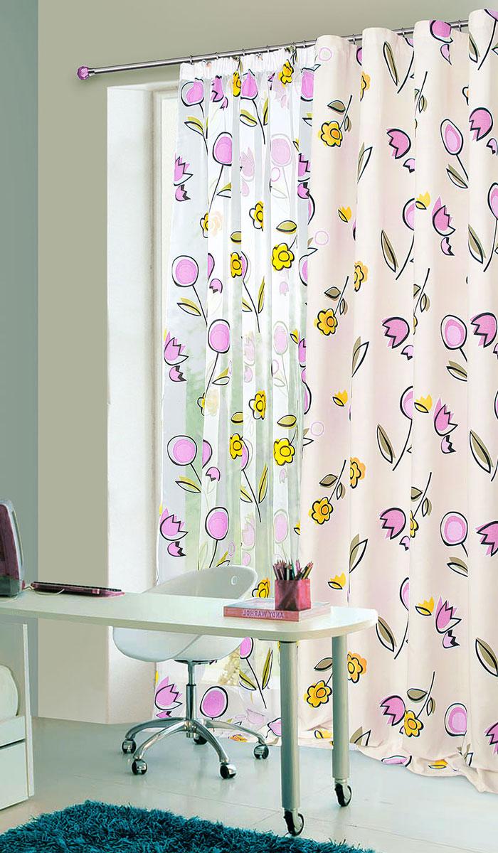 Штора готовая для гостиной Garden, на ленте, цвет: фиолетовый, размер 145 х 180 см. С 8155 - W1160 V7DW90Тюлевая штора Garden, изготовленная из органзы (полиэстера), станет великолепным украшением любого окна. Воздушная ткань с оригинальным рисунком создаст неповторимую атмосферу в вашем доме. В тюль вшита шторная лента.Шторная лента - специальная тесьма представляет собой каркас для всех видов складок. Внутри нее по всей длине проложены скрученные шнуры. Благодаря ей с драпировкой тюля может справиться даже человек, ничего не смыслящий в этой работе.Штора Garden придает законченность и гармоничность любому интерьеру. Простота модели и практичность ткани обеспечат удобство в эксплуатации и уходе.