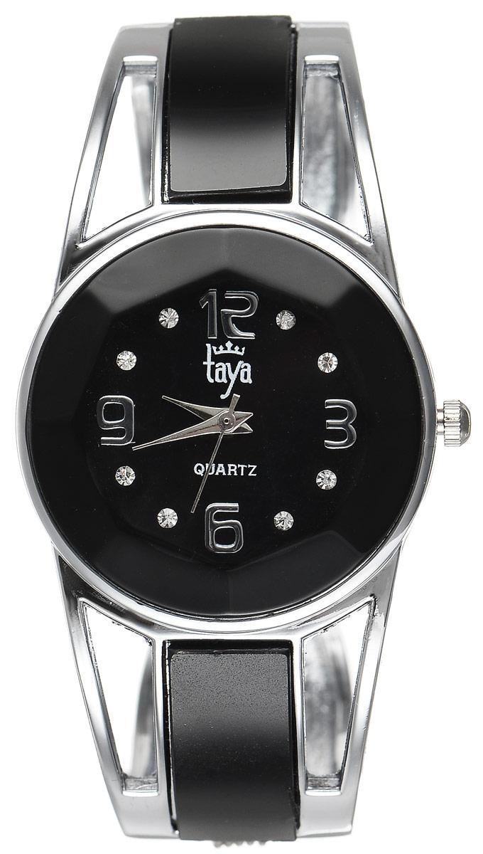 Часы наручные женские Taya, цвет: серебристый, черный. T-W-0431BM8434-58AEСтильные женские часы Taya выполнены из минерального стекла и нержавеющей стали. Корпус часов оформлен огранкой по всей окружности, циферблат инкрустирован стразами и дополнен символикой бренда.Корпус оснащен кварцевым механизмом со сменным элементом питания, а также дополнен раздвижным браслетом с пружинным механизмом и цветными стеклянными вставками.Часы поставляются в фирменной упаковке.Часы Taya подчеркнут изящность женской руки и отменное чувство стиля у их обладательницы.